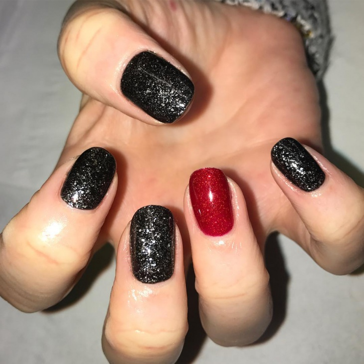 Black and Red Shellac Glitter Nails