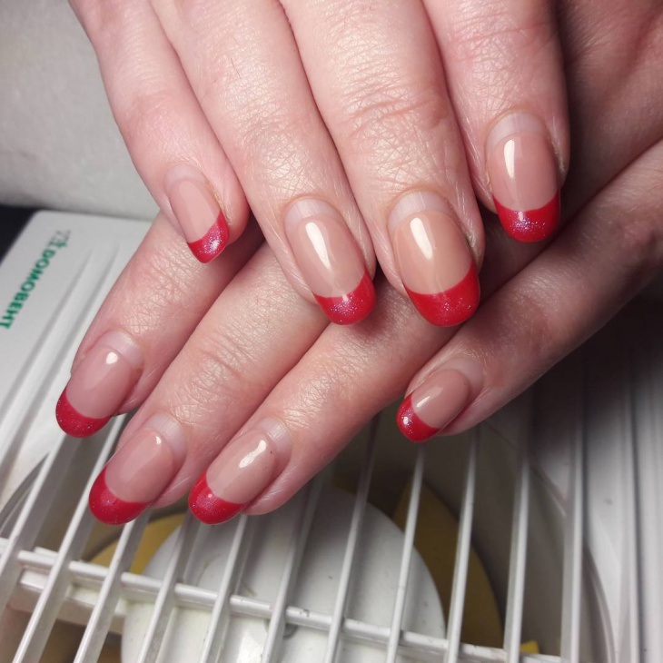 shellac french red nails