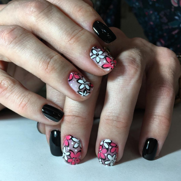 shellac flower balck nail art