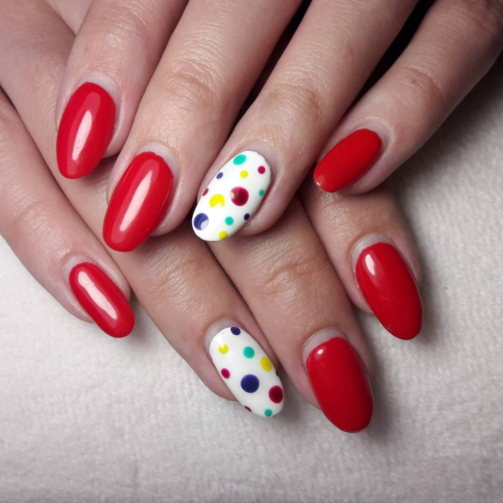 red shellac dotted nails