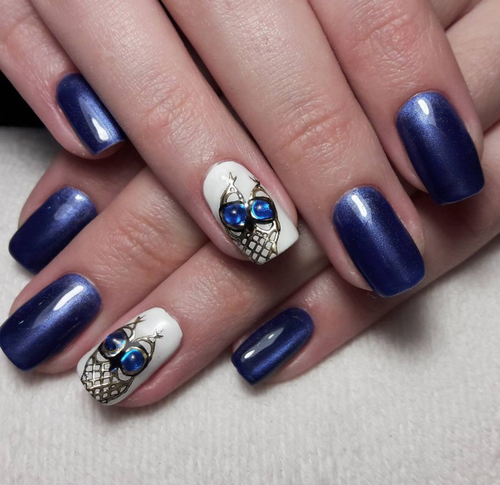shellac gel owl nail art