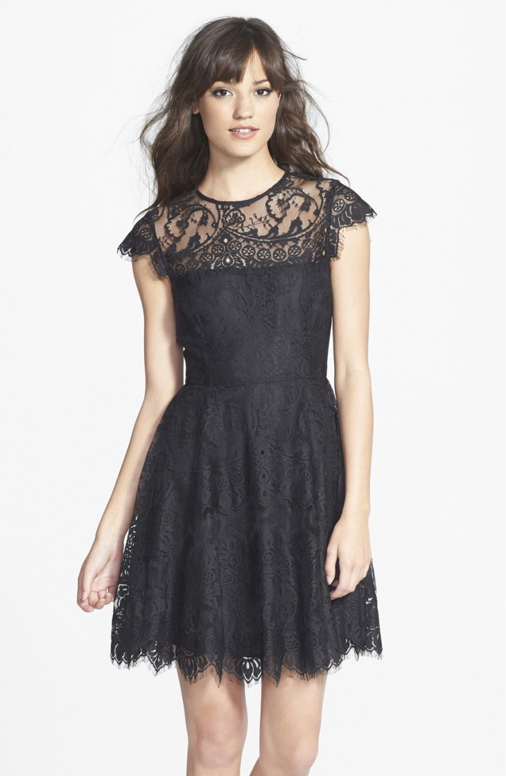 Short Black Wedding Sleeve Dress