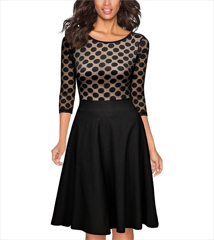 vintage black polka dot wedding dress