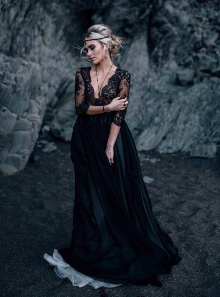 black gothic wedding dress with long sleeve