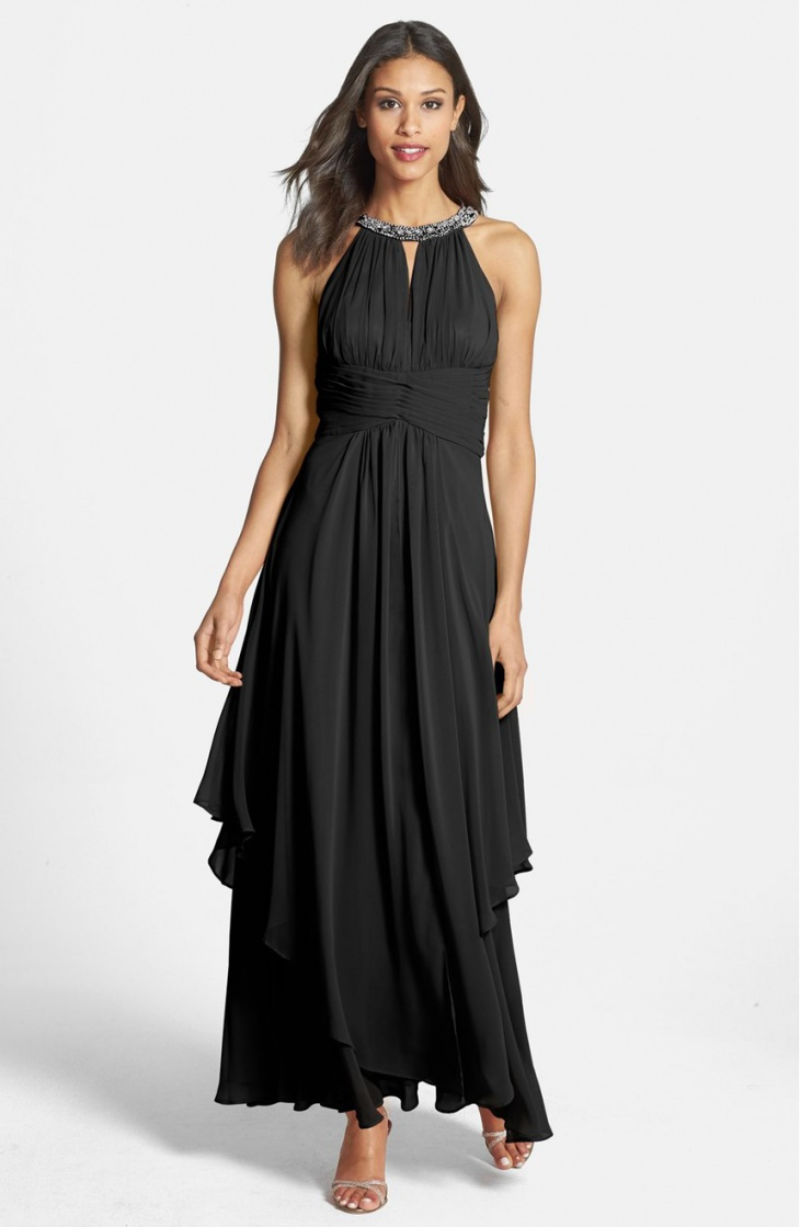 Black Long Chiffon Dress For Wedding