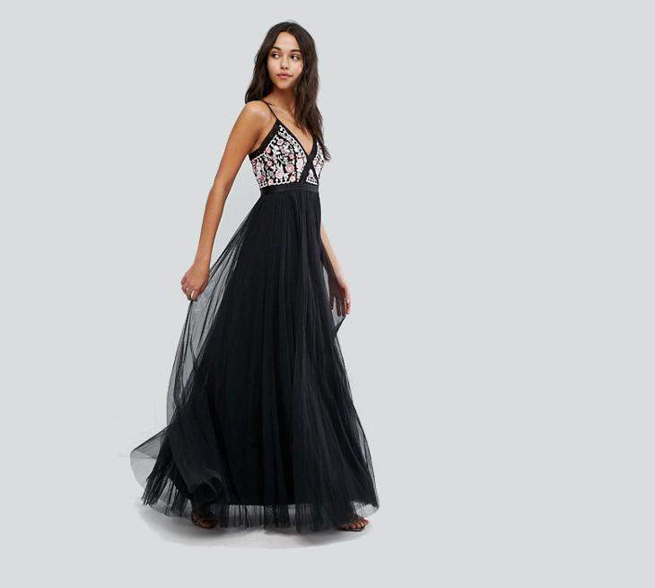 black tulle wedding long dress