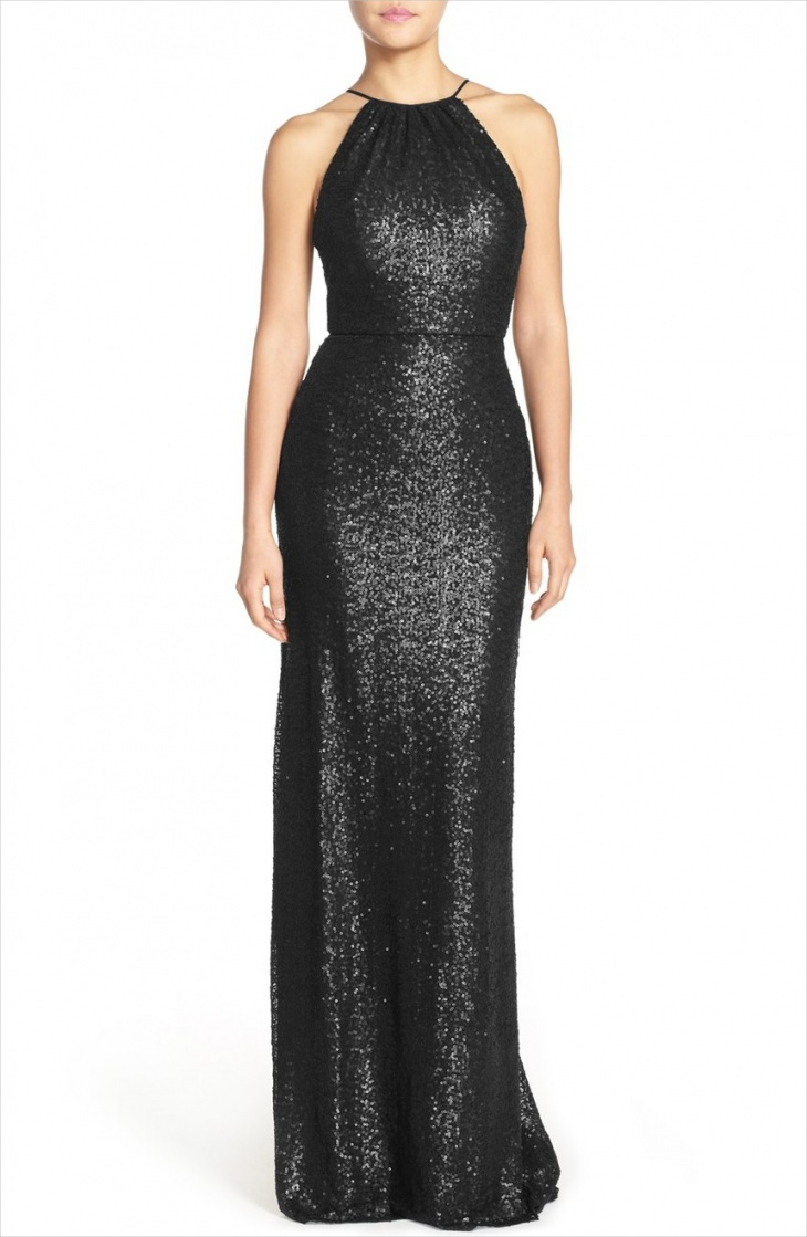 Black Halter Wedding Sequin Dress