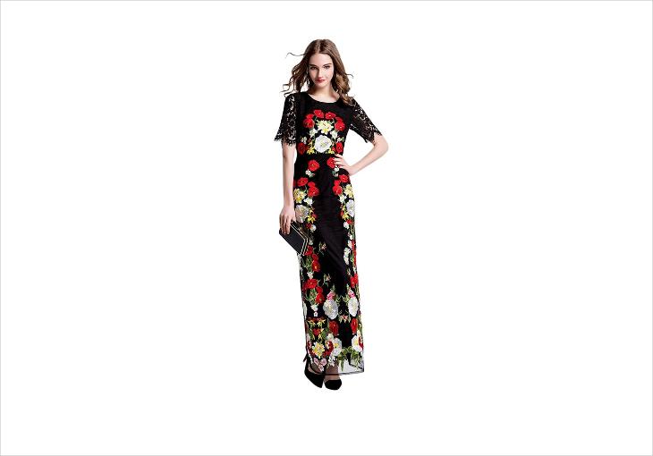 black embroidered wedding maxi dress