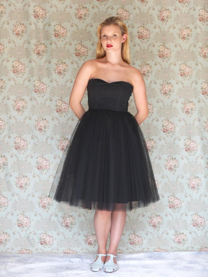 strapless black wedding tulle dress