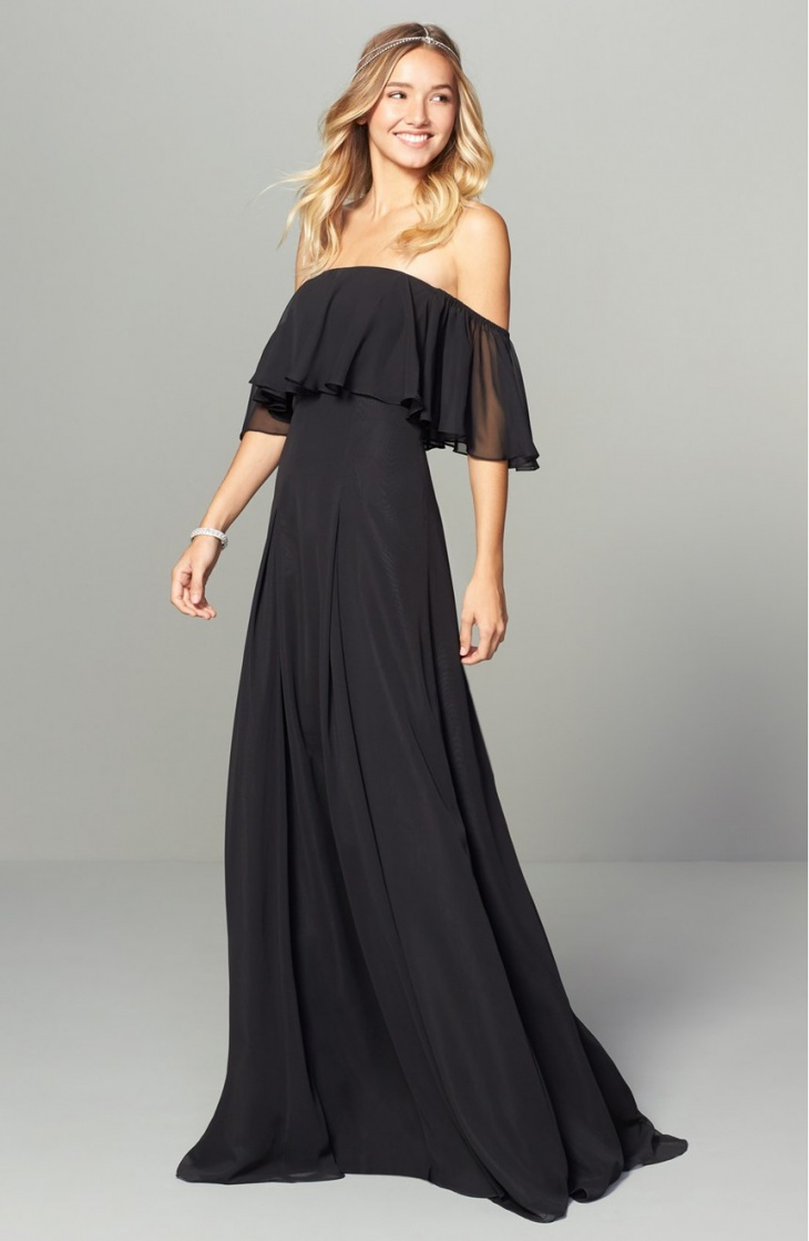 Strapless Black Wedding Chiffon Dress