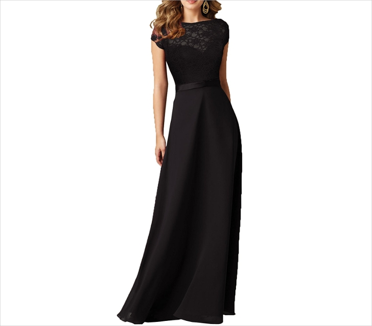 Vintage Black Wedding Maxi Dress