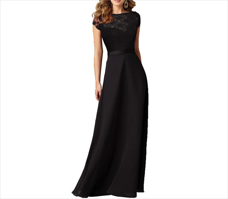 vintage black wedding maxi dress