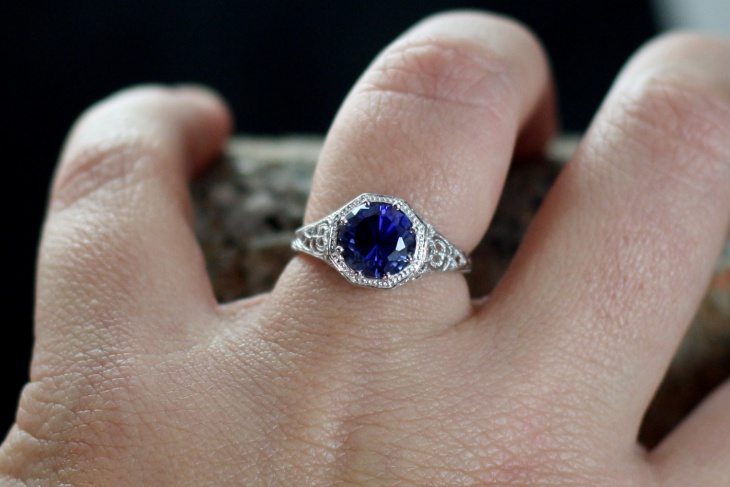 blue antique sapphire engagement rings