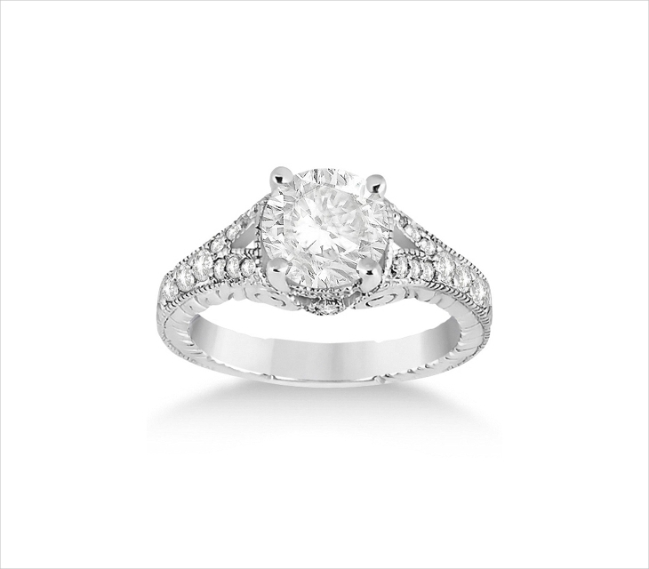 antique platinum filigree engagement rings