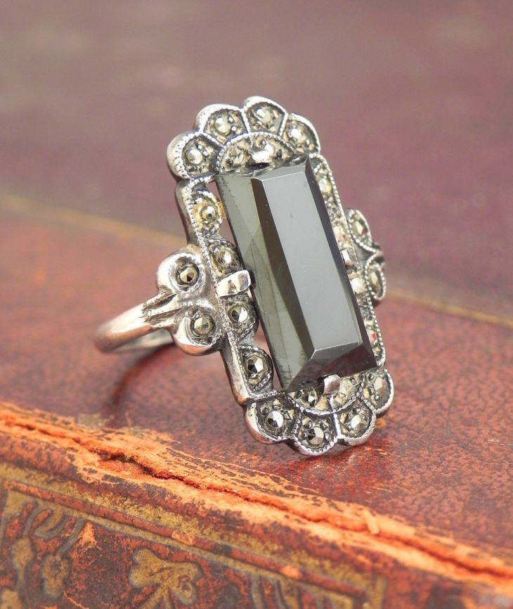 antique silver engagement onyx rings