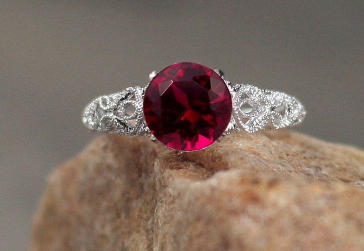 ruby antique solitaire engagement ring