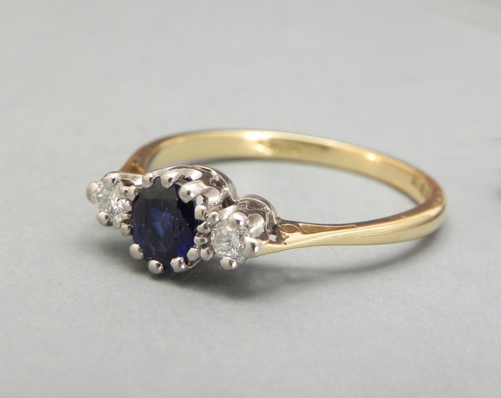 antique cluster engagement sapphire ring