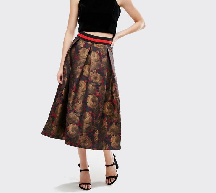 floral midi prom skirt