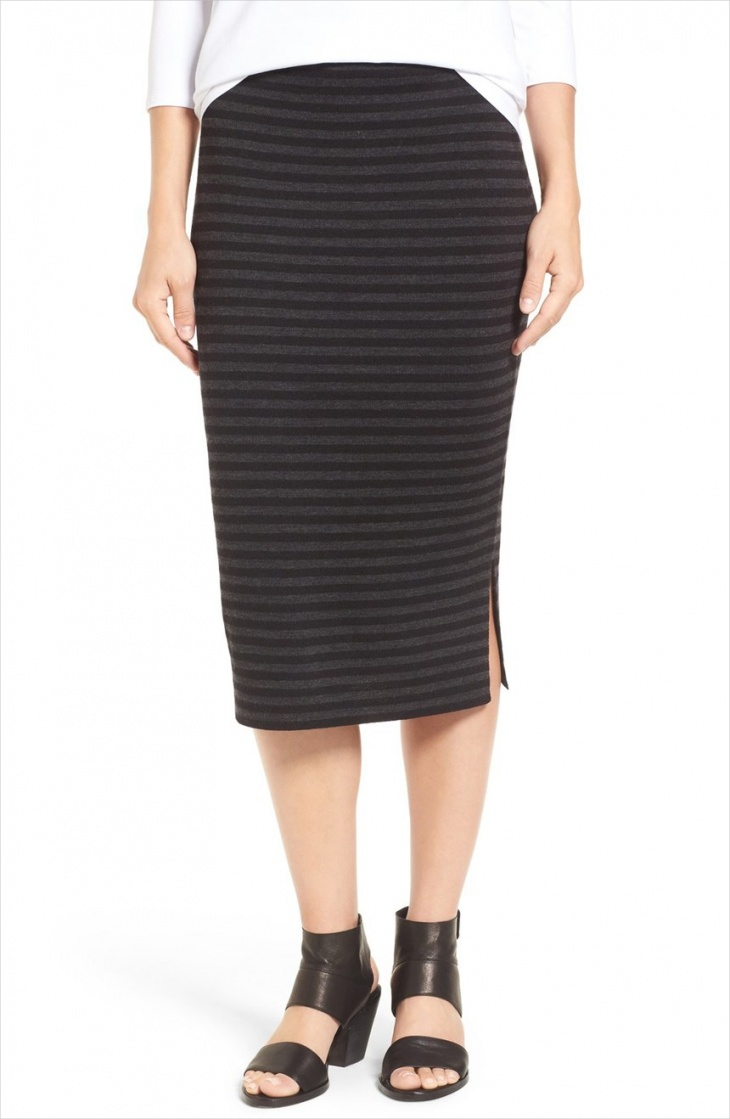 midi pencil stripe skirt