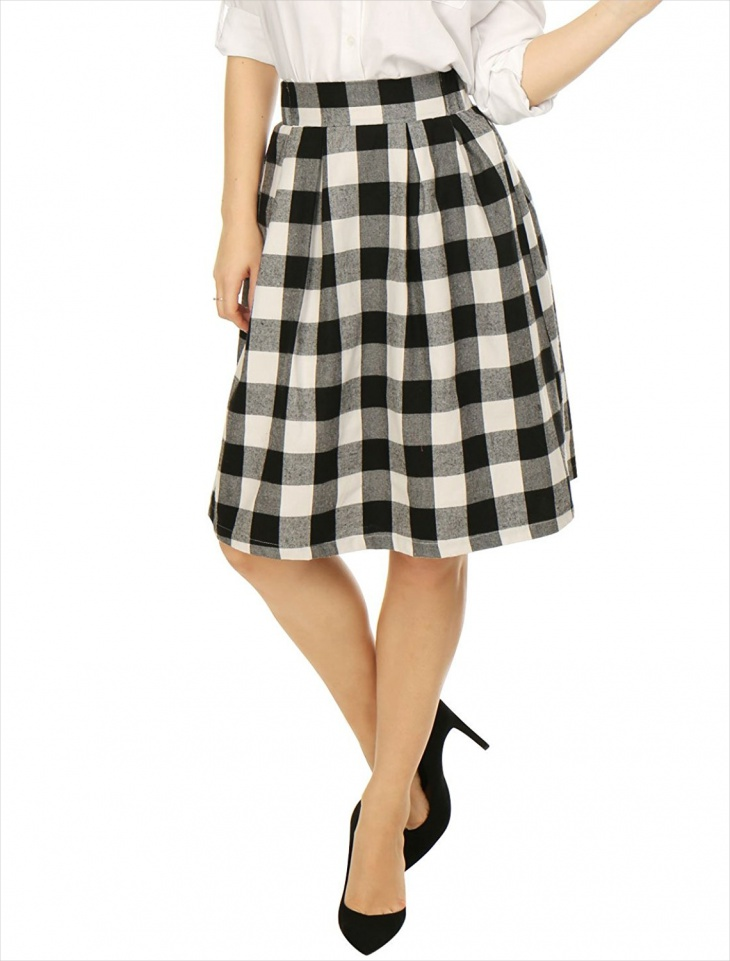 black and white plaid midi skirt