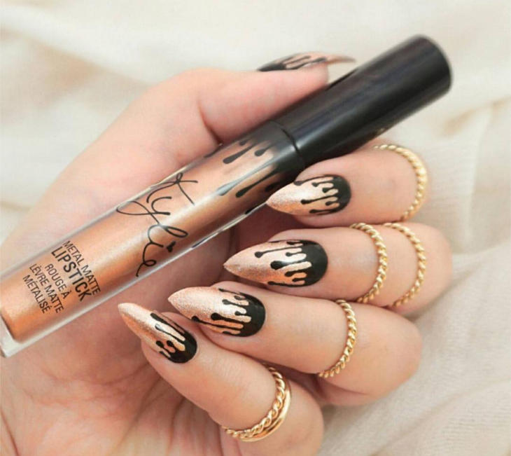 kylie jenner lip kit themed nails
