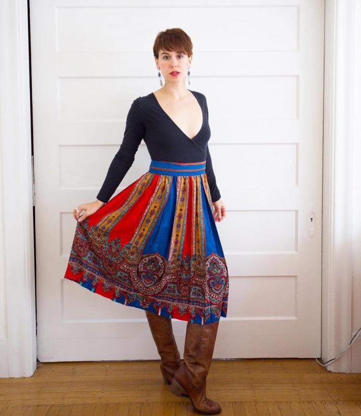 vintage midi skirt for women