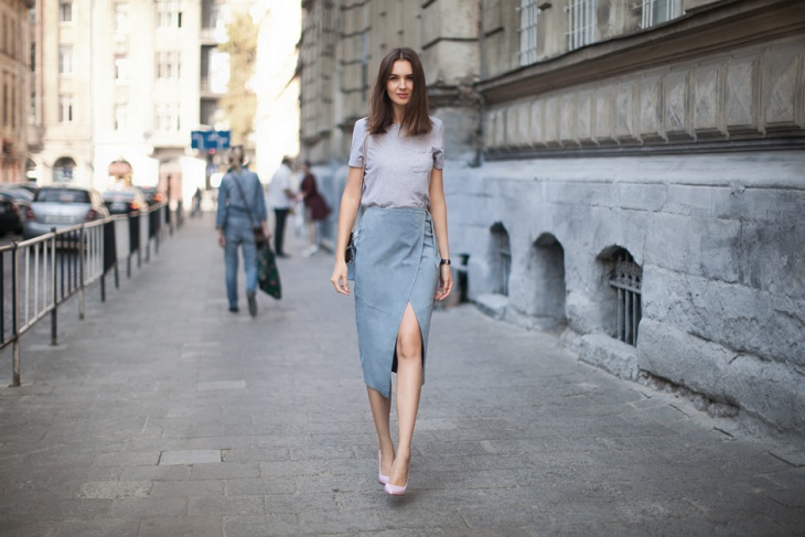 grey midi wrap skirt