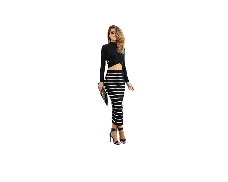 bodycon midi stiped skirt outfit