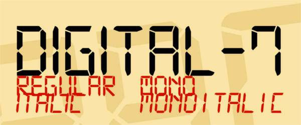 digital 7 font family otf1
