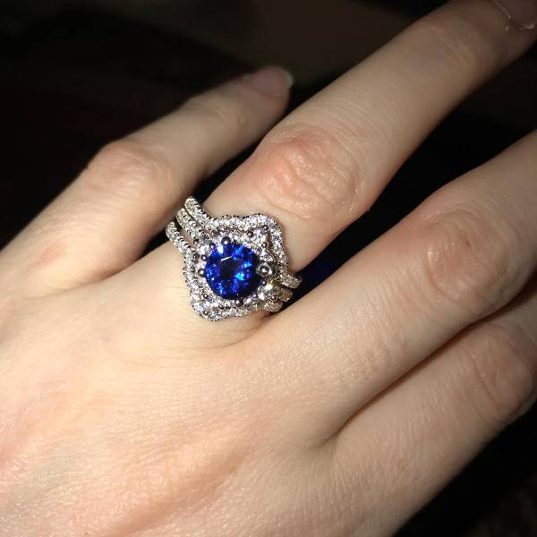 blue sapphire engagement ring for women