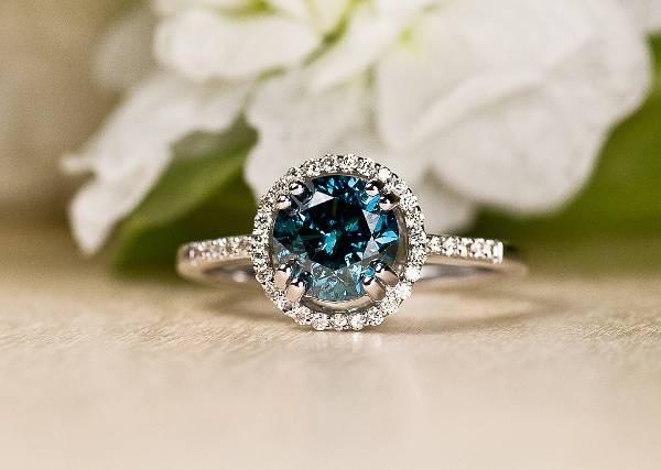 blue engagement diamond ring for women
