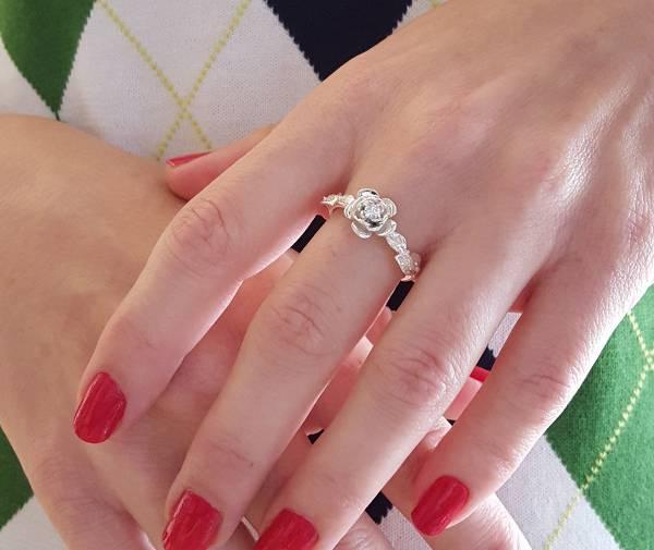 womens rose flower engagement ring