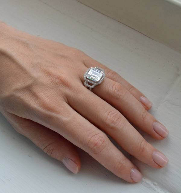 emerald cut silver engagement ring for women