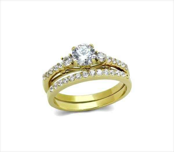 stainless steel gold engagement ring for women