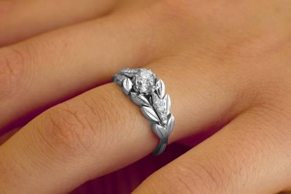 leaves diamond engagement ring for women