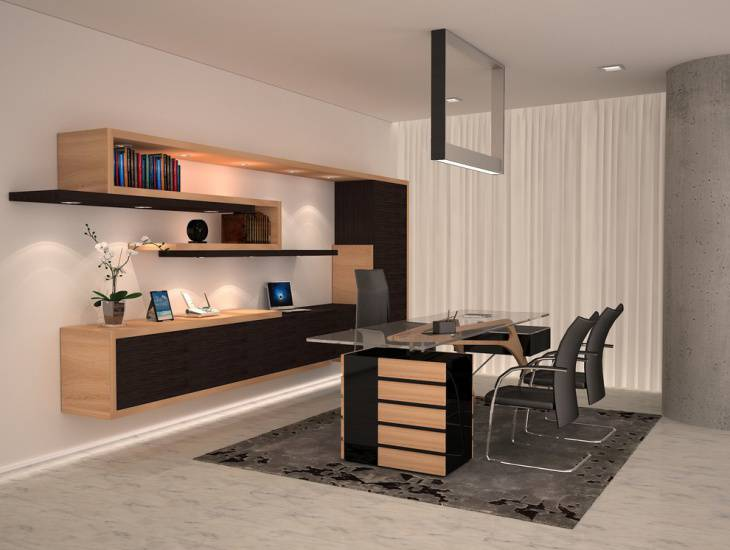 modern home office wall shelves design - Modern Home Office