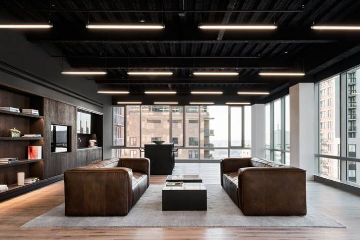 modern commercial office with leather furniture