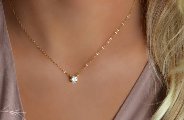 Delicate Diamond Solitaire Necklace