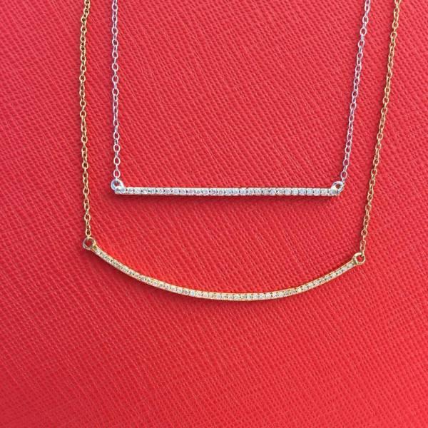 Diamond Bar Layered Necklace