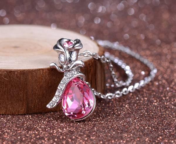 Pink Diamond Silver Necklace