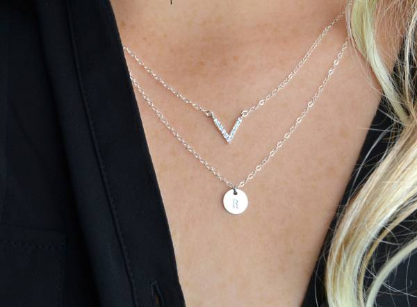 diamond initial layered necklace