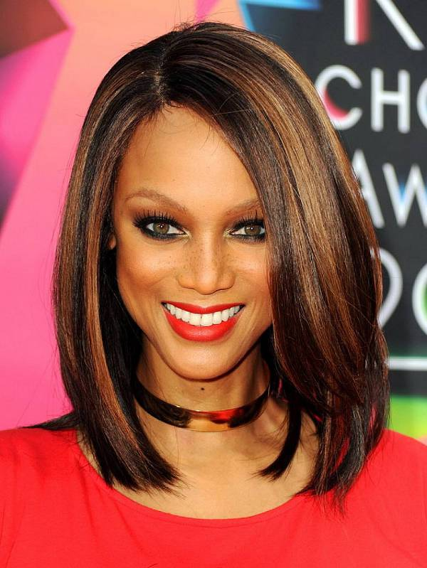 Tyra Banks Layered Asymmetrical Bob Haircut