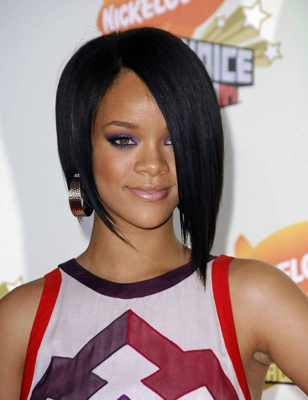 Rihanna Asymmetrical Bob With Bangs