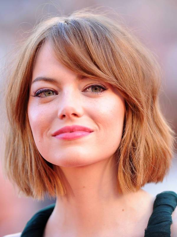 Emma Stone Layered Asymmetrical Bob Haircut