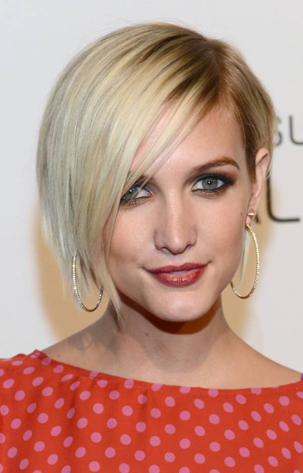 Ashlee Simpson Blonde Asymmetrical Bob Haircut