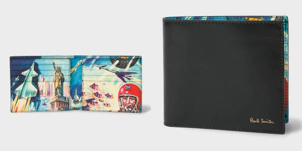 Paul Smith Men's Black Leather 'Crayon Box' Print Interior Billfold Wallet