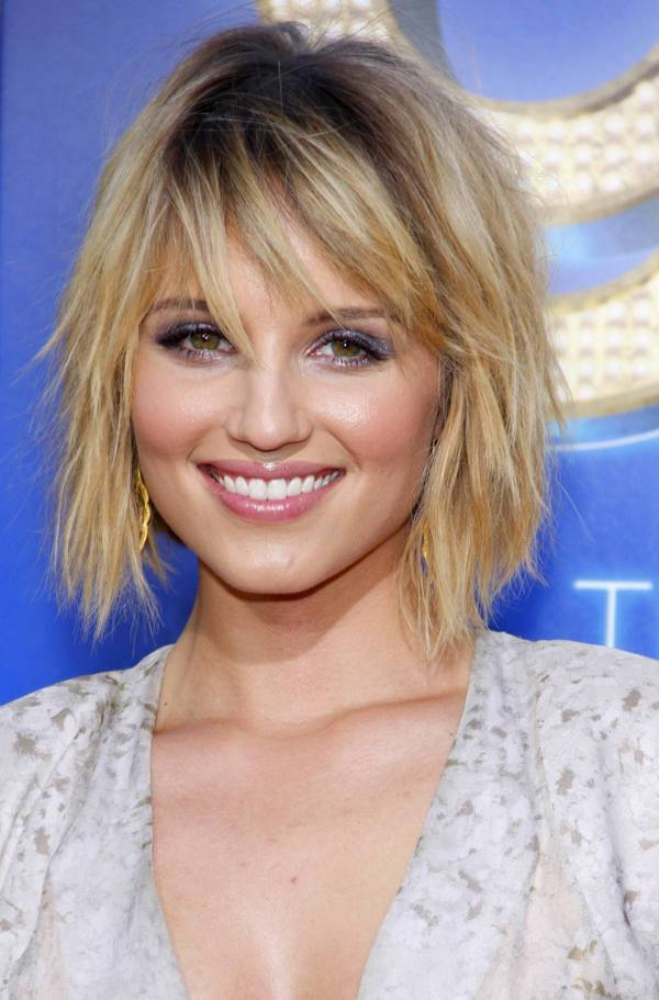 Dianna Agron Messy Asymmetrical Bob Haircut