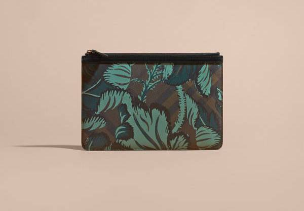 Floral Print London Check Pouch