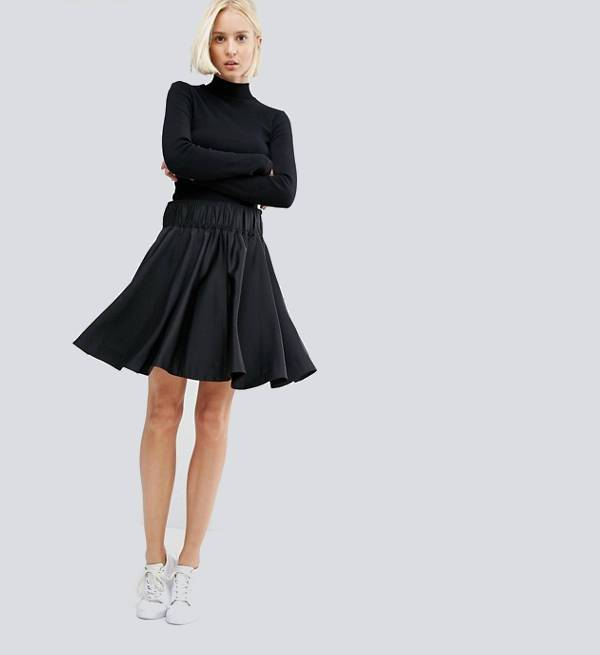 black skater skirt for women