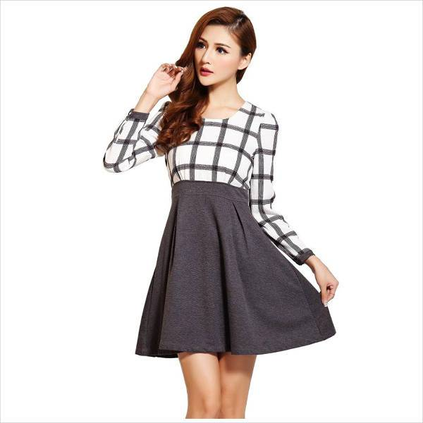 casual grey skater skirt outfit